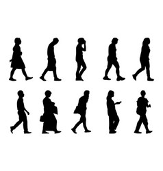 silhouette people walking collection on white vector image