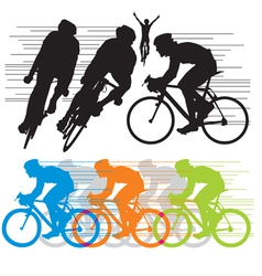 silhouettes cyclist vector image