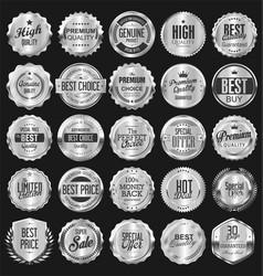 silver retro vintage badges and labels collection vector image