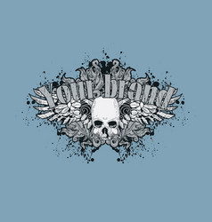 skull with wings on vintage floral background vector image