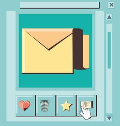 social media marketing with envelope vector image