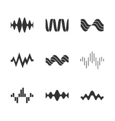 sound waves glyph icons set silhouette symbols vector image