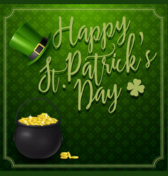 st patricks day with golden coins and hat vector image