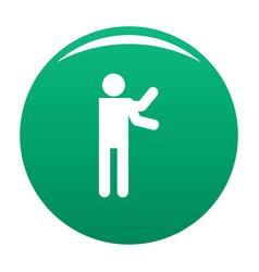 Stick figure stickman icon green vector