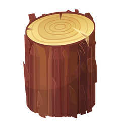 stump brown cut icon rough timber material vector image