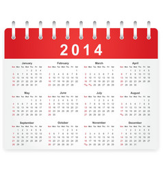Stylish calendar page for 2014 vector image
