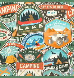 Summer camp colorful seamless pattern with rv vector