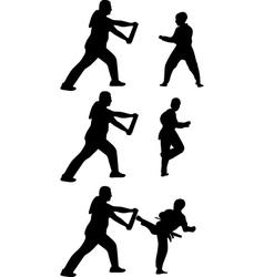 Taekwondo practice silhouette vector