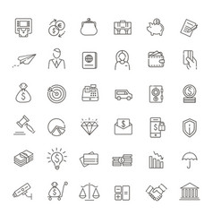 thin line web icon set - money payments vector image