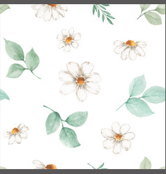 Watercolor seamless pattern flower and leaves vector