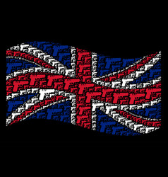 Waving british flag collage of pistol gun icons vector
