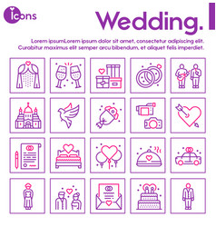 wedding color linear icons set love vector image