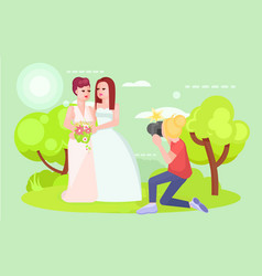 wedding photographer lgbt couple lesbians vector image