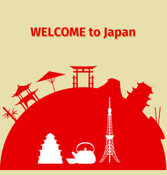 Welcome to japan travel background vector