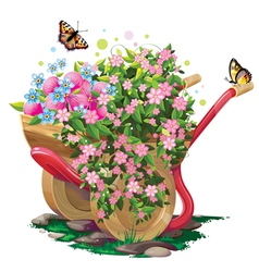 Wheelbarrow with flowers vector