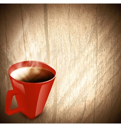 wooden background with red cup coffee vector image