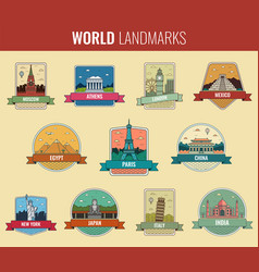 World landmarks icon set travel and tourism vector