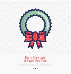 wreath on door thin line icon vector image