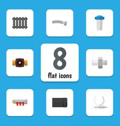 Flat icon sanitary set of heater tube corrugated vector