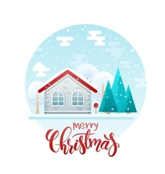 flat style country house with spruces and vector image