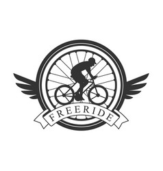 freeride vintage label black and white vector image vector image
