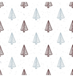 Seamless pattern with hand drawn christmas tree vector image