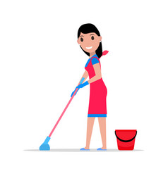 cartoon girl mop and bucket washes floors vector image vector image