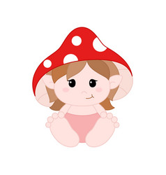 cute little gnome in diapers with mushroom hat vector image