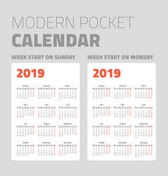 modern pocket calendar set 2019 vector image