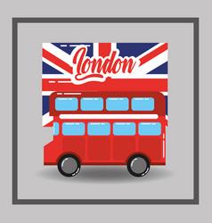 Red london double decker bus flag public transport vector