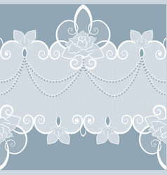 lace pattern with pearls and roses vector image