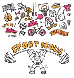 Sport icons doodle sketch vector image