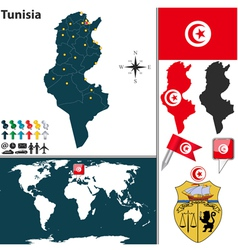 Tunisia map world vector image vector image