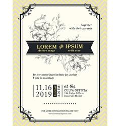 Vintage wedding invitation frame template vector