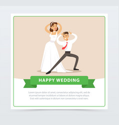 bride in white wedding dress and groom dancing vector image vector image