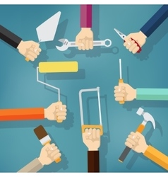 Builders Modern flat background with hand vector image vector image