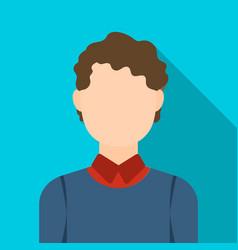 Curly boy icon flat single avatarpeaople icon vector
