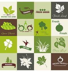 Eco related symbols and icons vector image vector image