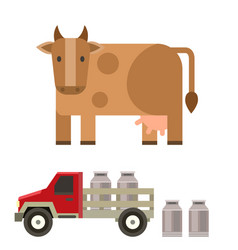 farm cow and bull nature vector image