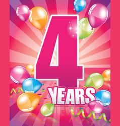 4 years birthday card vector image