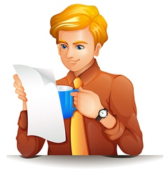 A man reading while holding a blue mug vector