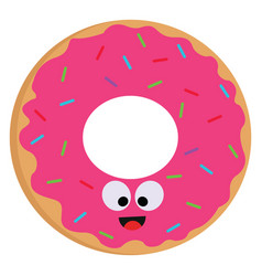 a smiling pink donut with colorful sprinkles on vector image