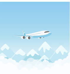 Airplane flight air plane flying over mountains vector