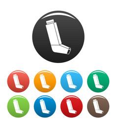 allergy inhaler icons set color vector image