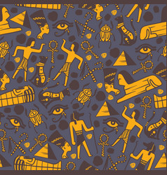 ancient egypt icons in seamless pattern vector image