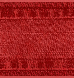 Background of denim fabric with seams red vector