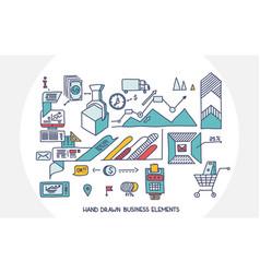 bank business finance analytics earnings hand draw vector image