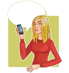 Beautiful woman with smartphone vector