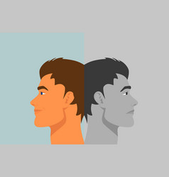 Beautiful young man with bipolar disorder vector