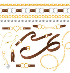 Belt elements braid pendants chain and bracelet vector